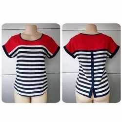 Casual Wear Half Sleeves Stripe Top