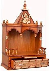 Teak Wood Brown Pooja Ghar/ Temple, For Home