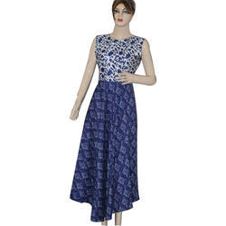 Rayon Indigo Printed Dress