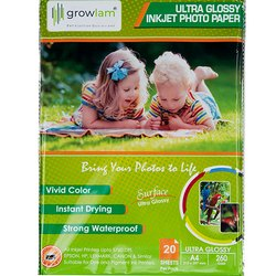 Growlam Ultra Glossy RC Photo Paper, Packaging Size: 20 Sheets Per Pack