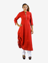 Free Size Maroon Ben Collar One Side String Kurti