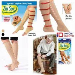 Black & Skin Color Cotton Zip Socks