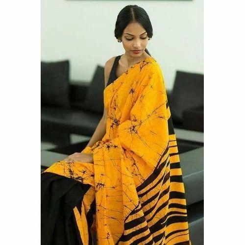 Mulmul Cotton Hand Batik Digital Print Saree, Length: 6.3