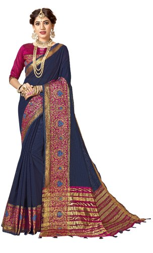 Designer Cotton Silk Party Wear Weaving Saree, 6.3 mtr