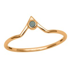 V-Curve Larimar Gemstone 9k Yellow Gold Women Stackable Ring