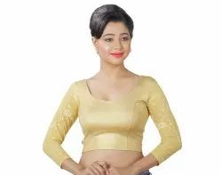 Abhi Shimmer Blouse With Three Quarter Net Sleeves