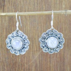 925 Sterling Silver Handmade Jewelry Natural Rainbow Moonstone Earring