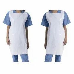 White Plain Disposable LDPE Plastic Medical Apron, Size: Free Size