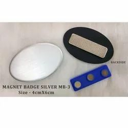 Round Magnet Name Badges Silver