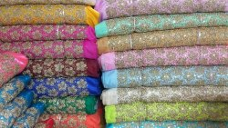 Dori Work Silk Embroidery Fabrics, For Garments