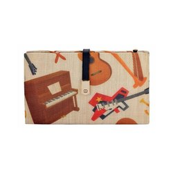 Multi Tassar Silk Casual with Musical Instrument Designs Clutch