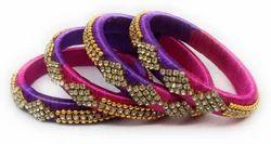 Pink And Purple Handmade Silk Thread Bangle Set