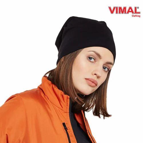 Vimal Black Cotton Beanie Cap For Women 81670ced4eff