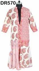 Cotton Hand Block Printed Gown Women's Long Cape Dress DR570