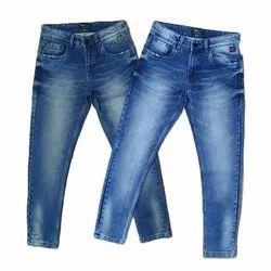 Regular Fit Mens Blue Dobby Denim Jeans, Waist Size: 28 - 40