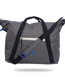 Grey and Blue Duffel Gym Bag