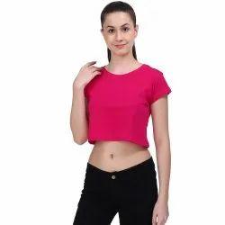 40a36370c10c6e Cotton Half Sleeve Ladies Neon Pink Plain Crop Top, Rs 120 /piece ...