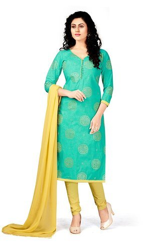 eceffb0f76 New Latest Bollywood Designer Light Green Rubber Print Silk Cotton Women' s Dress  Material