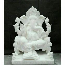 Marble Ganpati Sitting Statues