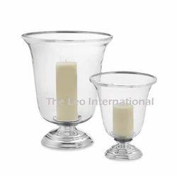 Decorative Glass hurricane candle lamp set of 2