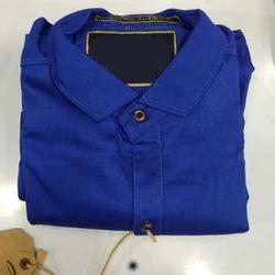 Plain Mens Blue Cotton Shirt