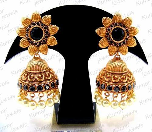17478355ec2c0 Mogul Ethnic Earrings - Black Flower Shaped Jhumka Earring Exporter ...