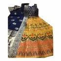 Stitched Banarasi Silk Ladies Yellow Banarasi Lehenga, With Blouse And Dupatta