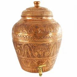 IndianCartVilla Pure Copper Nakkashi Water Pot
