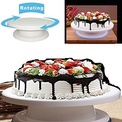 Plastic Revolving Rotating Cake Decorating Stand Swivel Plate Turntable  JX