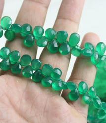 Green Onyx Faceted Gemstone Beads