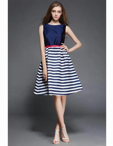 ab225ef184 Dresses Casual Wear WIGGLEE New Blue Taffeta   Satin Plain Western Dress