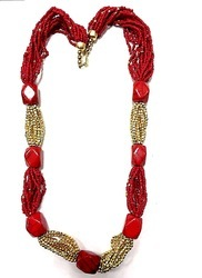 Red And Golden Beaded Tribal Necklace, Box