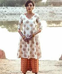 Cotton Floral Hand Block Print Kurta With Palazzo Pant