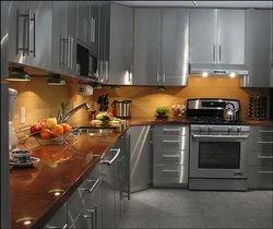 L Shape Metal Modular Kitchen, Warranty: 1-5 Years