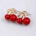 Cherry Red Leaf Bead Stud Earrings For Women