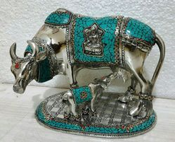 Metal Paoti Cow With Stone Work
