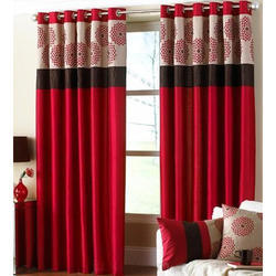 Printed Designers Red Curtains