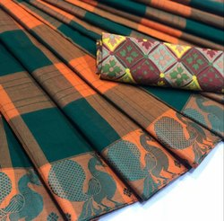 Green and Orange Checkered Chettinad Cotton Saree