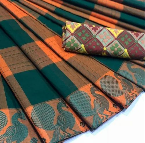 c1deb2eec5 Green and Orange Checkered Chettinad Cotton Saree, Length: 5.5 m with  Separate Blouse Piece