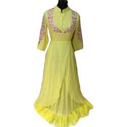 Multicolor Stitched Ladies Party Wear Embroidered Gown