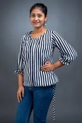 Casual Printed Strips With Black&White TOP