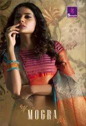 Shangrila Mogra Weaving Printed Saree