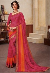 Fuchsia Georgette Saree with Double Blouse