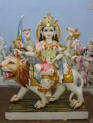 White Durga Mata Marble Statue
