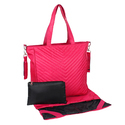 Pink Polyester Diaper Bag With Mat And Pouch, Capacity: 16.6 L, Size: Lxhxw- 32x31.5x16.5ccm