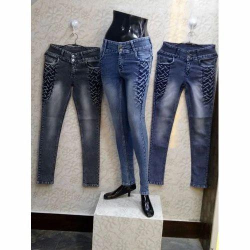 2842f29f4f441 Ladies Black And Blue Comfort Fit Designer Jeans