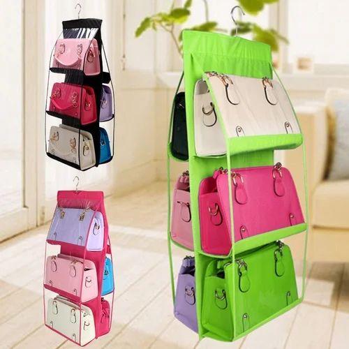 6 Pocket Hanging Handbag Purse Bag Tidy Storage Organiser
