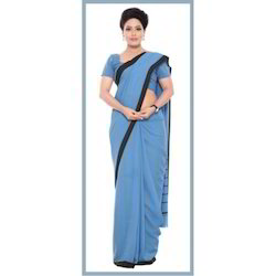 Lords Polyester Uniform Border Saree, Without blouse piece, 5.5 m (separate blouse piece)