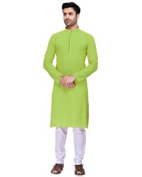 Men Knee Long Textured Cotton Kurta Set, Round, Size/Dimension: Large