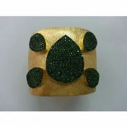 Gemstone Studded Gold Plated Silver 925 Cuff Bangle